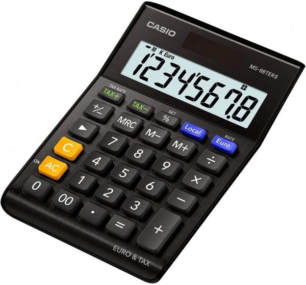 Casio MS-88TERII-BK Euro Tischrechner, 8-stellig, EXTRA BIG LC-Display, schwarz