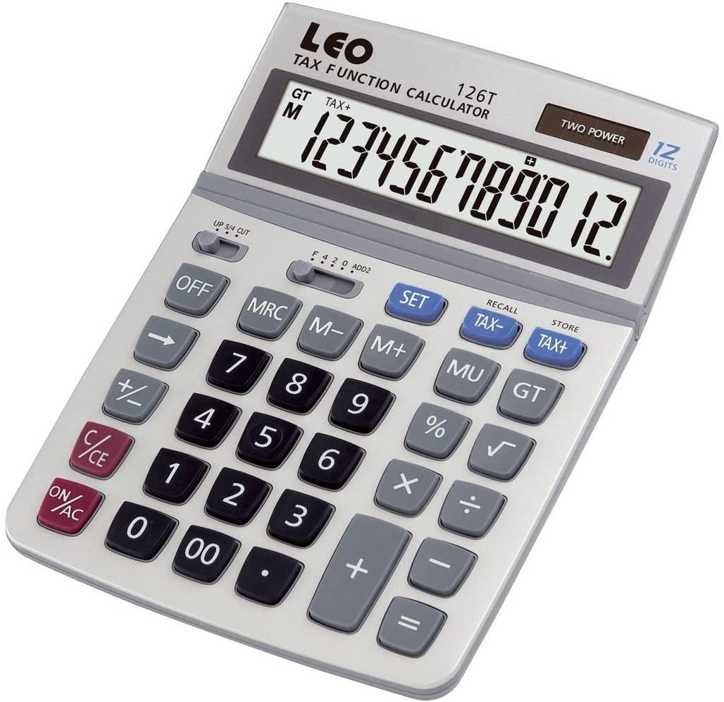 LEO 126T Tischrechner 12-stellig Solar und Batteriebetrieb silber