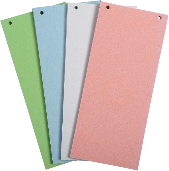 Exacompta 100er Pack Trennstreifen Karton 10,5 x 24 cm farbig sortiert für eine übersichtliche Ablag