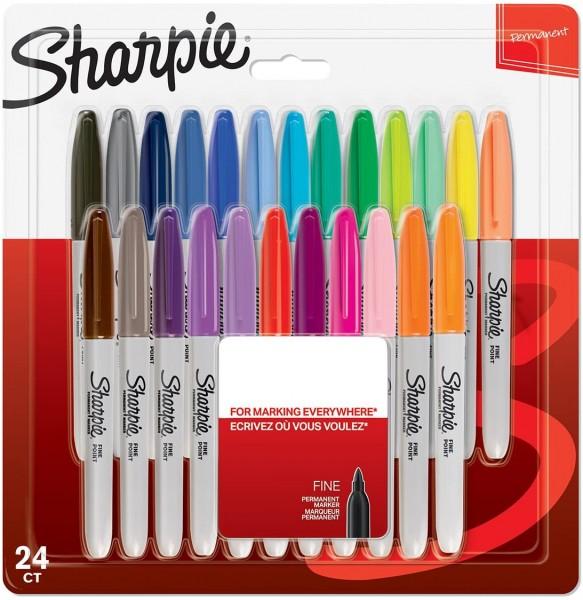 Sharpie Permanent Marker | Marker Stifte mit feiner Spitze | gemischte Farben | 24 Stück Market Set