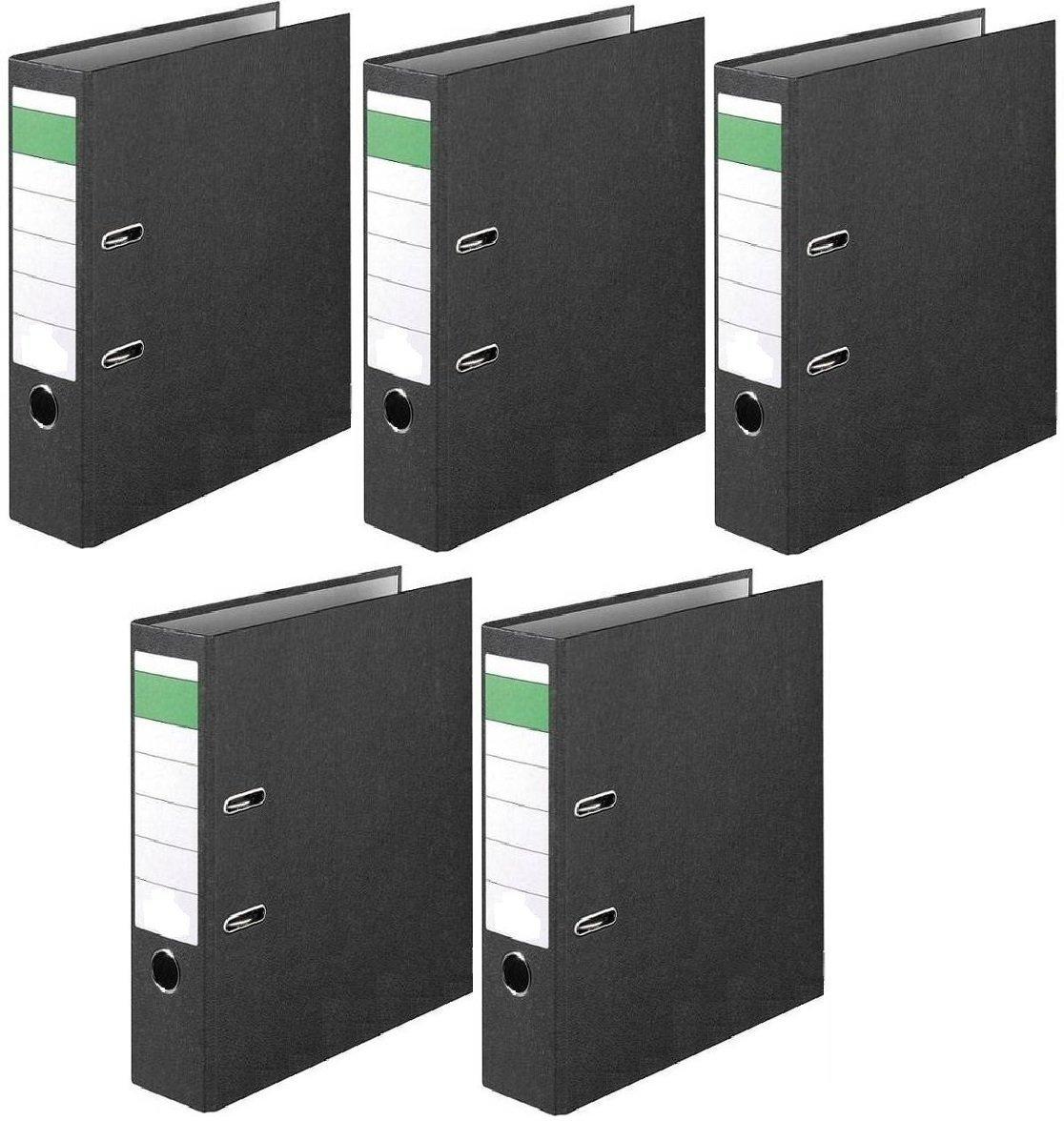 5x Ordner Economy DIN-A4, 8cm Wolkenmarmorbezug schwarz Aktenordner Briefordner
