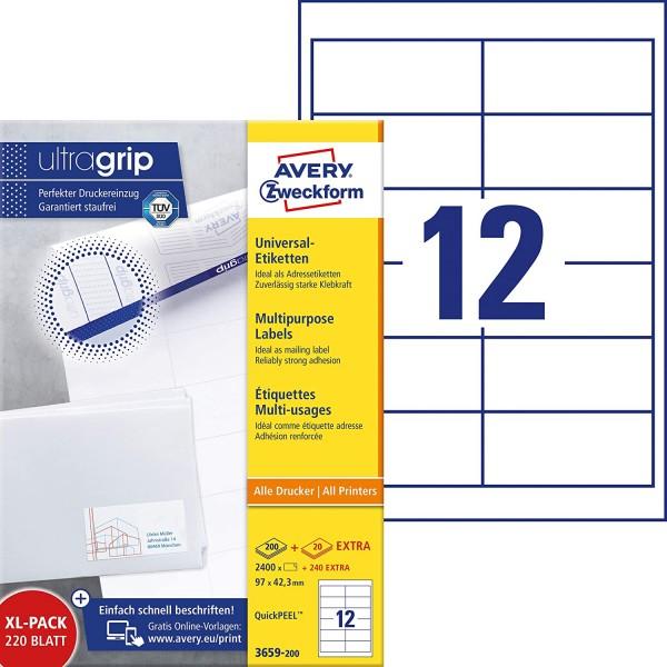 AVERY Zweckform 3659-200 Adressaufkleber (2.400 plus 240 Klebeetiketten extra, 97x42,3mm auf A4, bed
