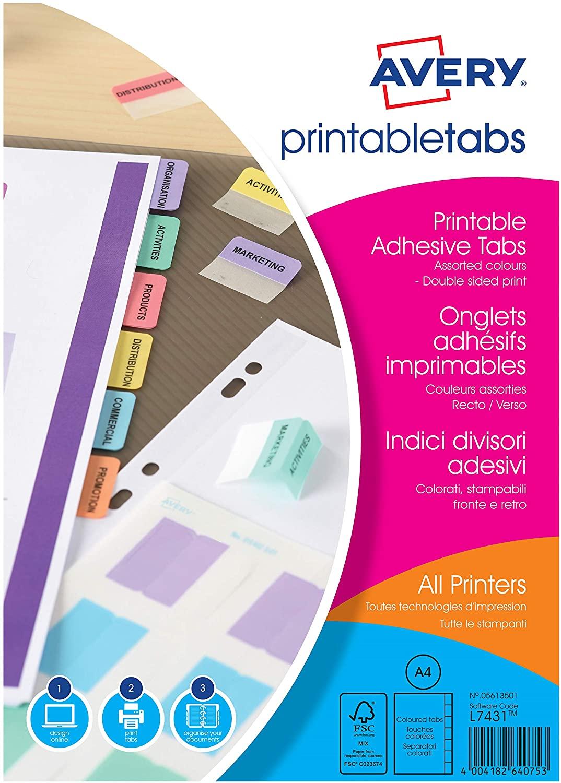 AVERY Zweckform 5412501 selbstklebende Register Taben (farbig sortiert, 96 bedruckbare Taben, auch h