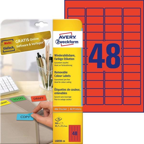 AVERY Zweckform L6038-20 Rote Etiketten (960 Aufkleber, 45,7x21,2mm auf A4, wieder rückstandsfrei ab