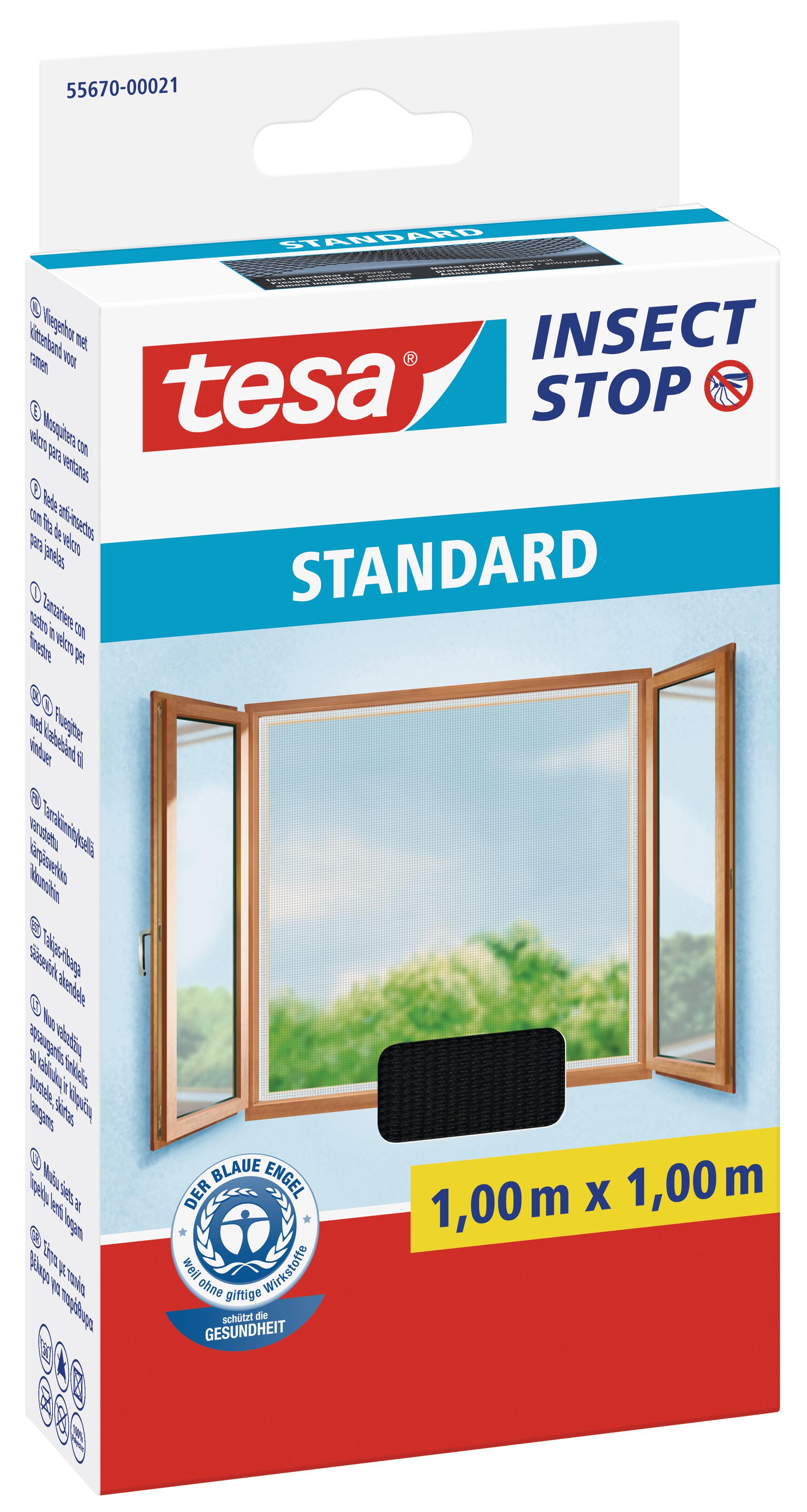 tesa Fliegengitter Standard Klettband für Fenster 1 m : 1 m, anthrazit