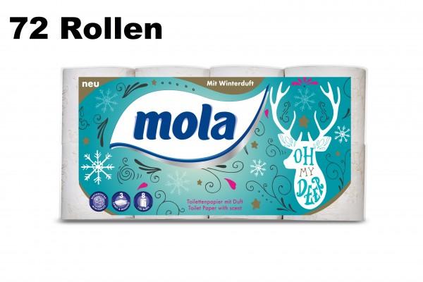 72 Rollen Winter Toilettenpapier Mola mit Rentiermotiv 3-lagig 150 Blatt / Rollen