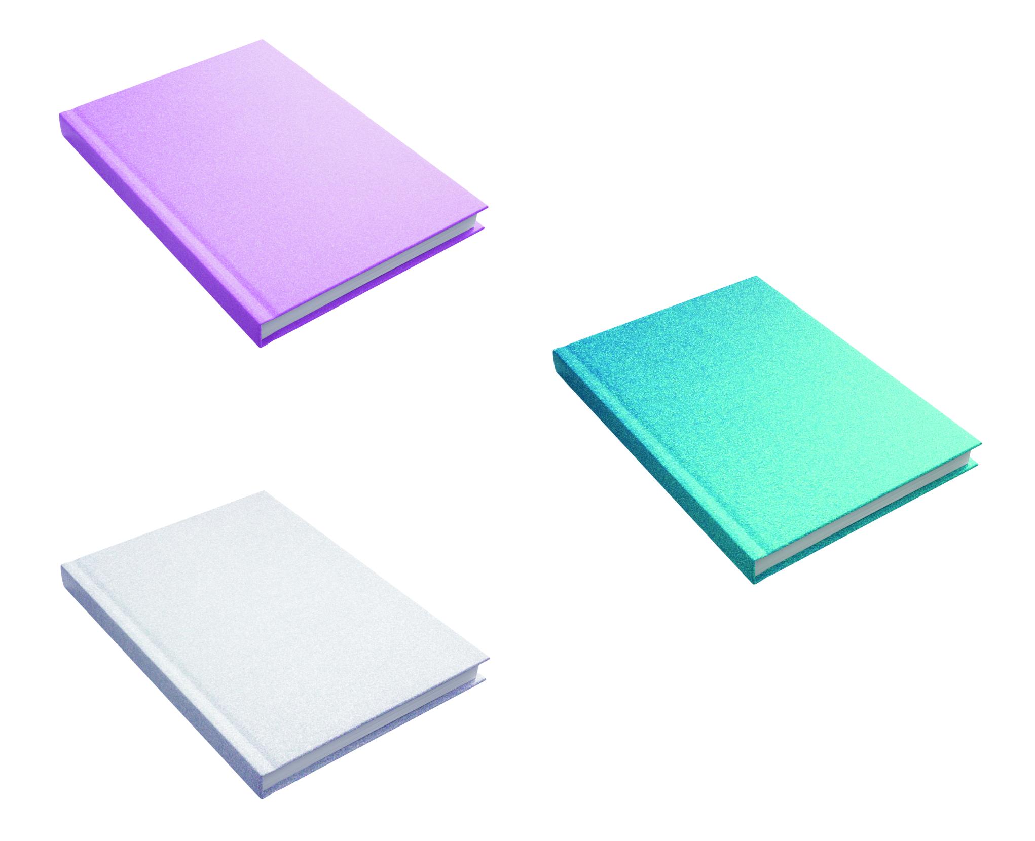 3er Set Kladden - Notizbuch - DIN A5 - 80 Blatt - 80g/m² - kariert - mit Glittercover - 3 Farben - s