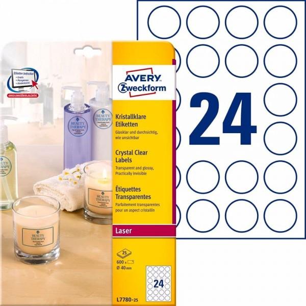 AVERY Zweckform L7784-25 transparente Etiketten (25 Klebeetiketten, 210x297mm auf A4, Aufkleber zum