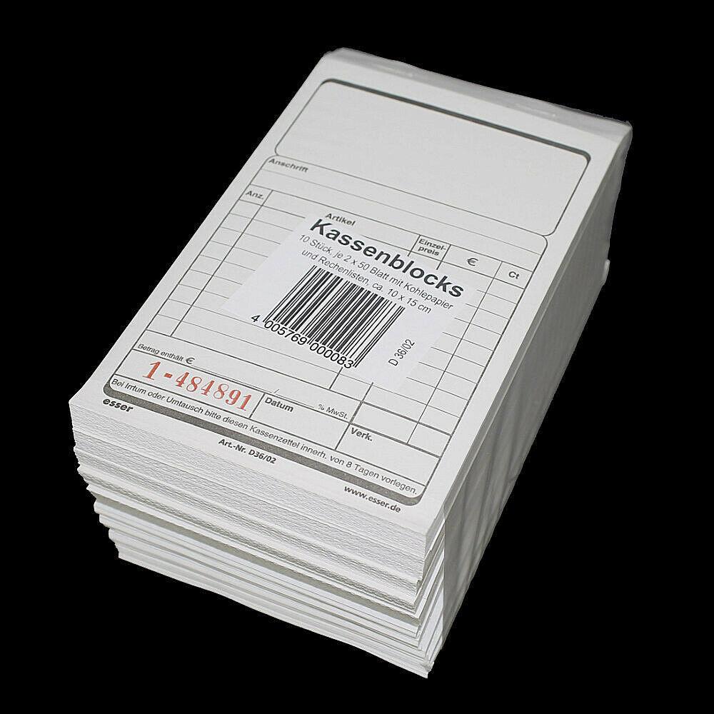 10x Kassenblöcke mit Durchschlag 10x15cm 2x 50 Blatt Schwarz / Rot