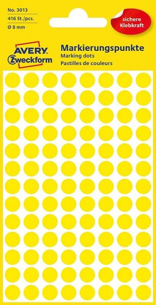 AVERY Zweckform 3013 selbstklebende Markierungspunkte 416 Stück (Ø8mm, Klebepunkte auf 4 Bogen, Punk