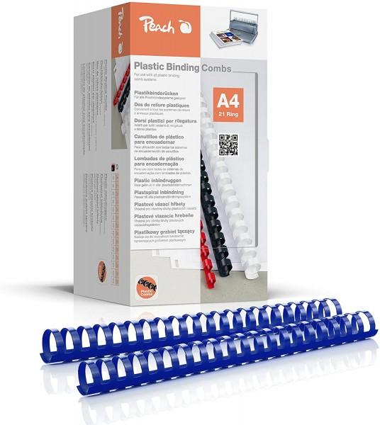 Peach PB428-04 Binderücken, Plastikbindung, DIN A4, Bindekapazität 270 Seiten, 50 Stück Blau