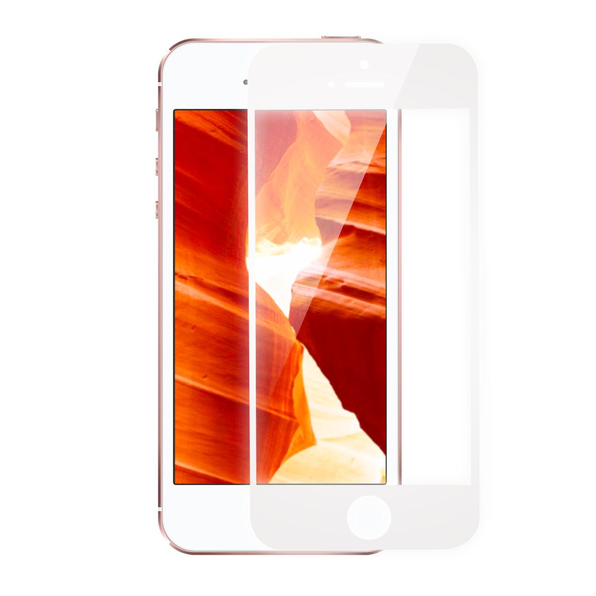 KMP Schutzglas für Apple iPhone 5, 5s,  weiß / white