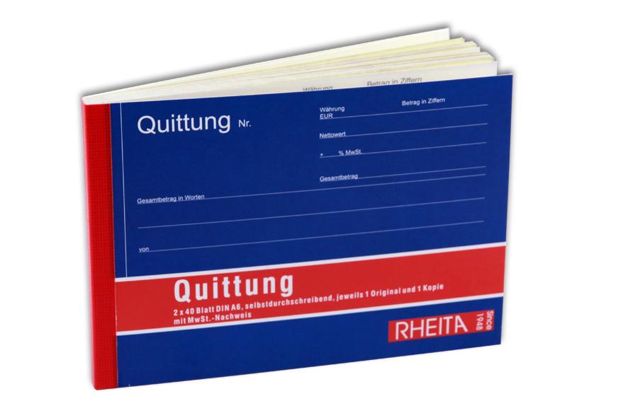 Rheita-Krautkrämer Quittungsbuch 2x40 Blatt DIN A6 selbstdurchschreibend