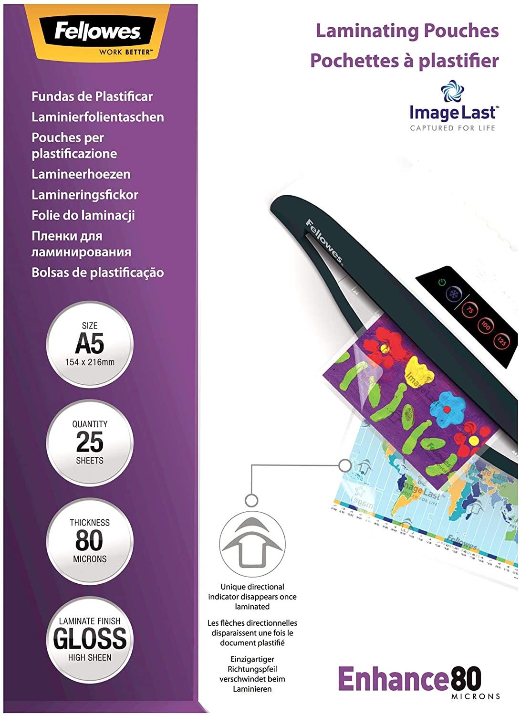 Fellowes ImageLast Laminierfolien 80 Mikron, DIN A5 (25er Pack) 5396003