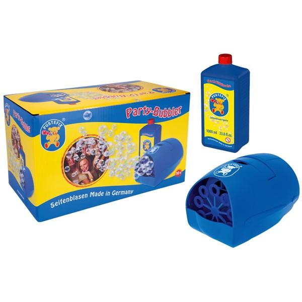 Pustefix – Party-Bubbler + 1 L Seifenblasenflüssigkeit – Seifenblasen – Seifenblasen-Maschine – Bubb