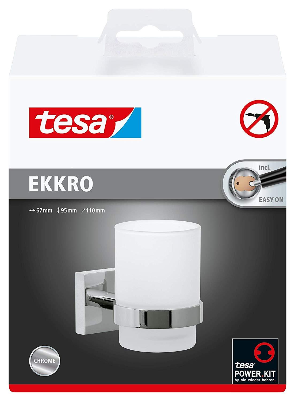 Tesa ekkro Zahnbürstenhalter (NICHT BOHREN verchromt, satiniertes Glas, inkl. Klebelösung, hohe Halt