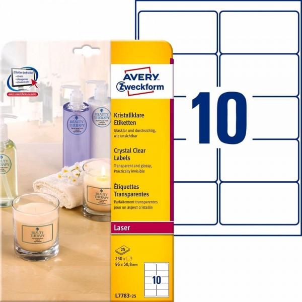 AVERY Zweckform L7782-25 transparente Etiketten (525 Klebeetiketten, 63,5x38,1mm auf A4, Aufkleber z