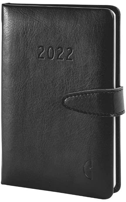 Chronoplan 50822 Buchkalender Kalendarium 2022, im handlichen Mini Format (ca. A6, 95x140mm), Lederi
