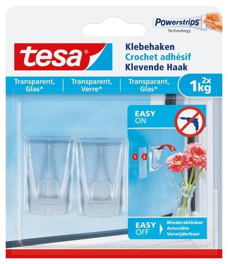 tesa Klebehaken transparent, Glas, 2 x 1 kg
