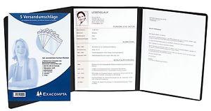 5 x EXACOMPTA Premium Bewerbungsmappe Schwarz + B4 Versandumschläge mit Leinen-Optik