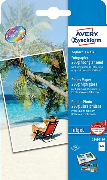 AVERY Zweckform C2497-50 Superior Inkjet Fotopapier (A6, einseitig beschichtet, hochglänzend, 230 g/