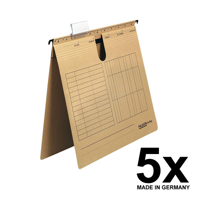 5x Falken Hängehefter 80004344 UniReg, braun 230g/m²-Kraftkarton, kaufm. Heftung