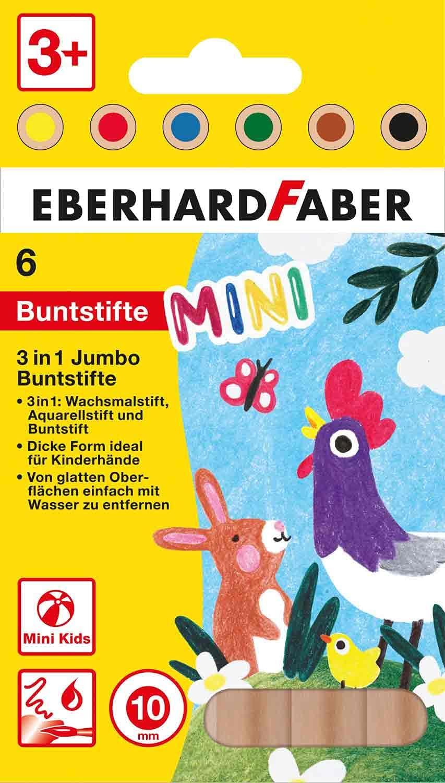 Eberhard Faber 518905 - Mini Kids Jumbo Buntstifte in 6 Farben, 3 in 1 mit Wachsmal-Stift, Aquarell-