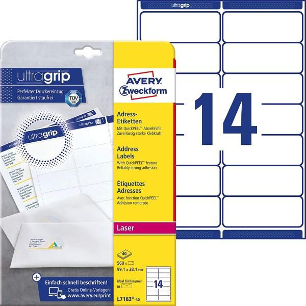 AVERY Zweckform L7163-40 Adressetiketten/Adressaufkleber (560 Etiketten mit ultragrip, 99,1x38,1mm a