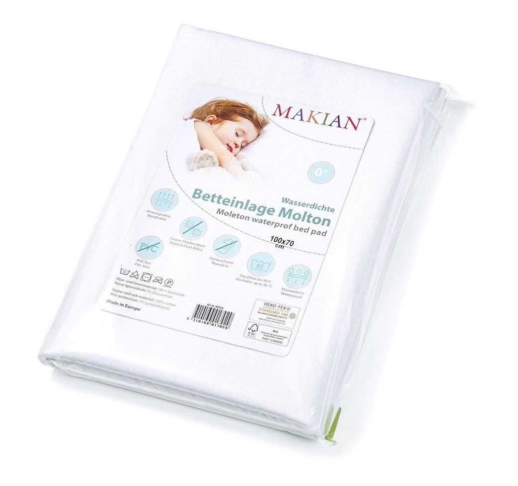 MAKIAN Betteinlage Molton wasserdicht 50x70cm Matratzenschutz für Babybett