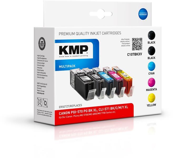KMP Multipack C107BKXV komp. PGI-570PGBKXL CLI571XL BK/ C/M/Y für Canon Pixma MG 5700