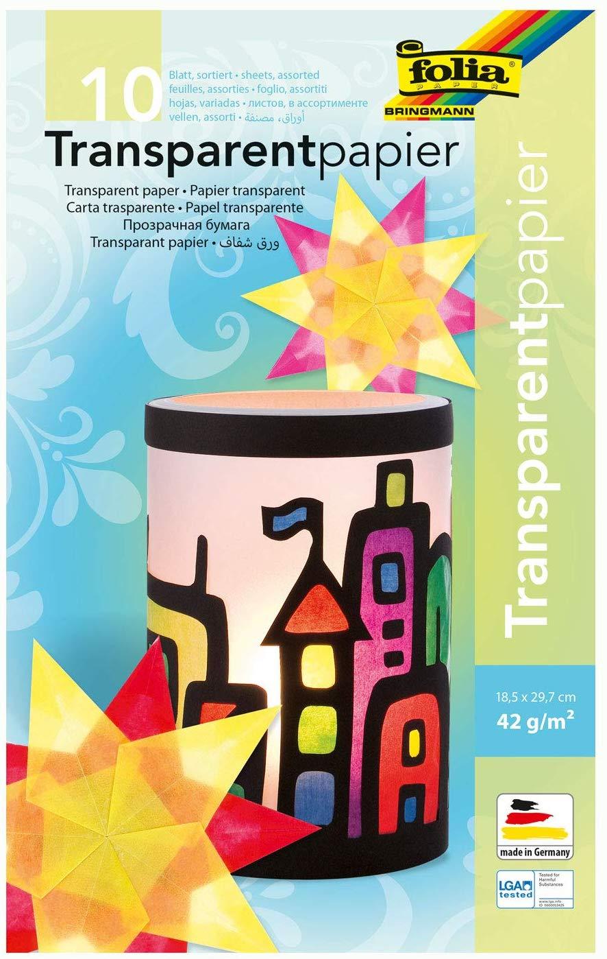 folia 810 - Mappe mit Transparentpapier, 10 farbig sortiert, 10 Blatt, 42 g/qm, ca. 18,5 x 29,7 cm,