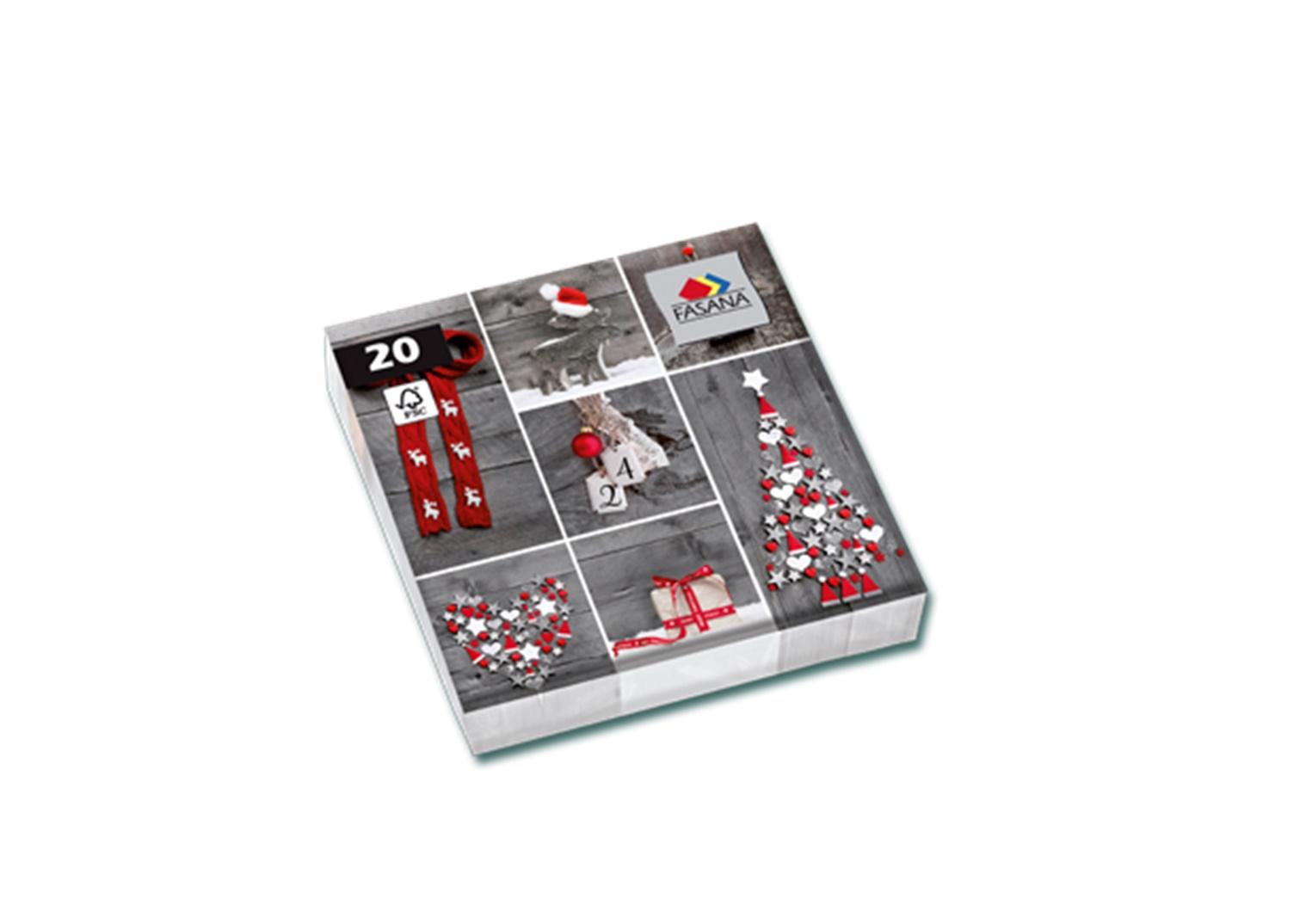 Fasana Servietten 33 x 33 cm 1/4 Falzung 20 Stück Motive Rot - Grau