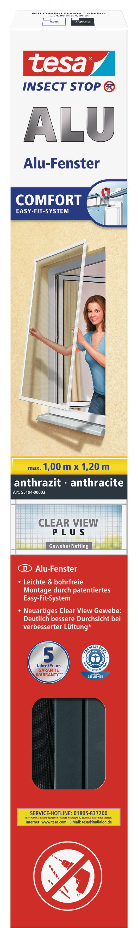 tesa Fliegengitter ALU Comfort Fenster 1,0 m : 1,2 m anthrazit