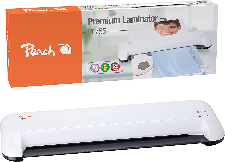 Peach PL755 Laminiergerät DIN-A3 , schnell startklar , geeignet für handelsübliche Folien , 1½ Seite