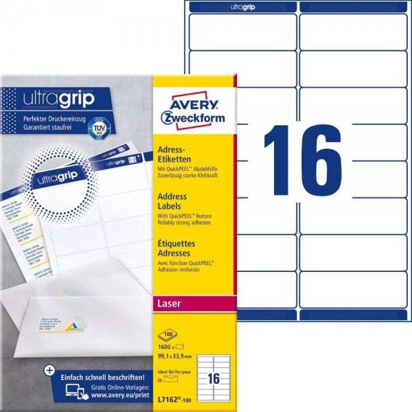 AVERY Zweckform L7162-100 Adressetiketten/Adressaufkleber (1.600 Etiketten mit ultragrip, 99,1x33,9m