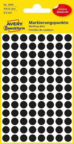 AVERY Zweckform 3009 selbstklebende Markierungspunkte 416 Stück (Ø8mm, Klebepunkte auf 4 Bogen, Punk