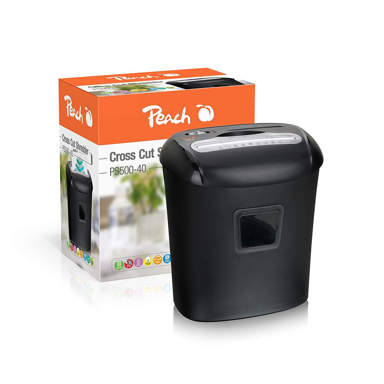 Peach PS500-40 Partikelschnitt Aktenvernichter, 10 Blatt, 21 Liter, 5 x 16 mm Partikel (P-4), Papier