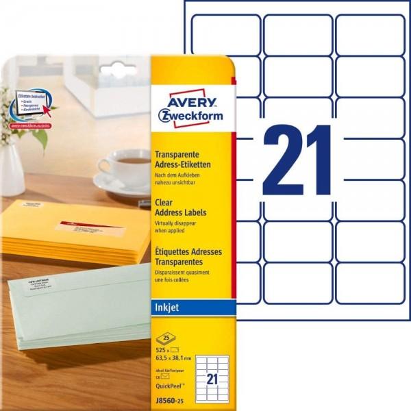 AVERY Zweckform J8560-25 Adressetiketten/Adressaufkleber (525 Etiketten, 63,5x38,1mm auf A4, bedruck