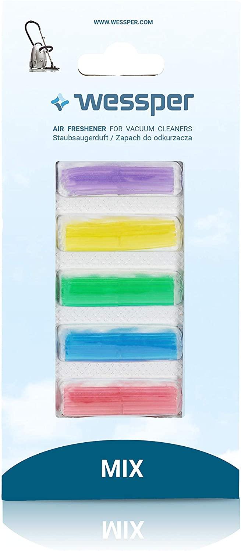 Wessper® Duftstäbchen Deo Sticks Lufterfrischer Duft für alle Staubsauger mit Beutel - 5 Stück - mix