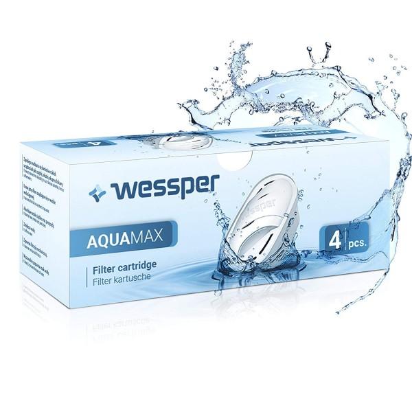 Wessper 4er Pack Aquamax Wasserfilter Kartuschen komp. mit BRITA Maxtra, AmazonBasics WES003