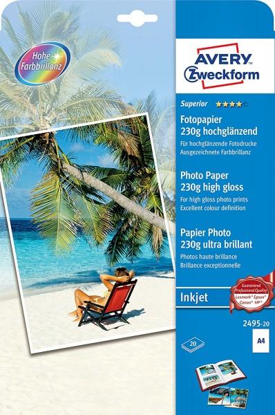 AVERY Zweckform 2495-20 Superior Inkjet Fotopapier (A4, einseitig beschichtet, hochglänzend, 230 g/m
