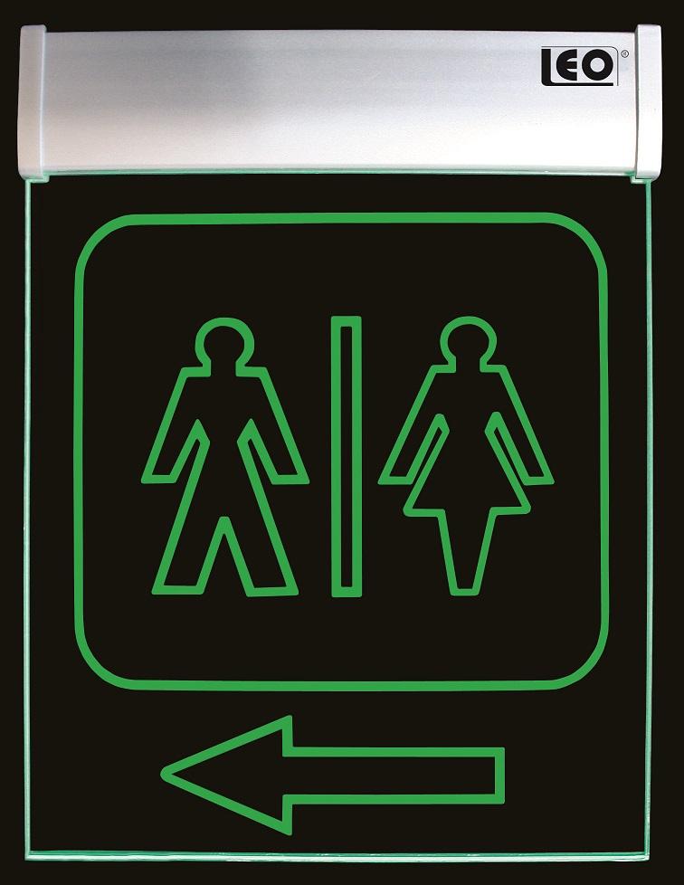 "LEO Leuchtschrift-Display Acryl ""WC"" Hinweistafel 280 x 210 x 20 mm"