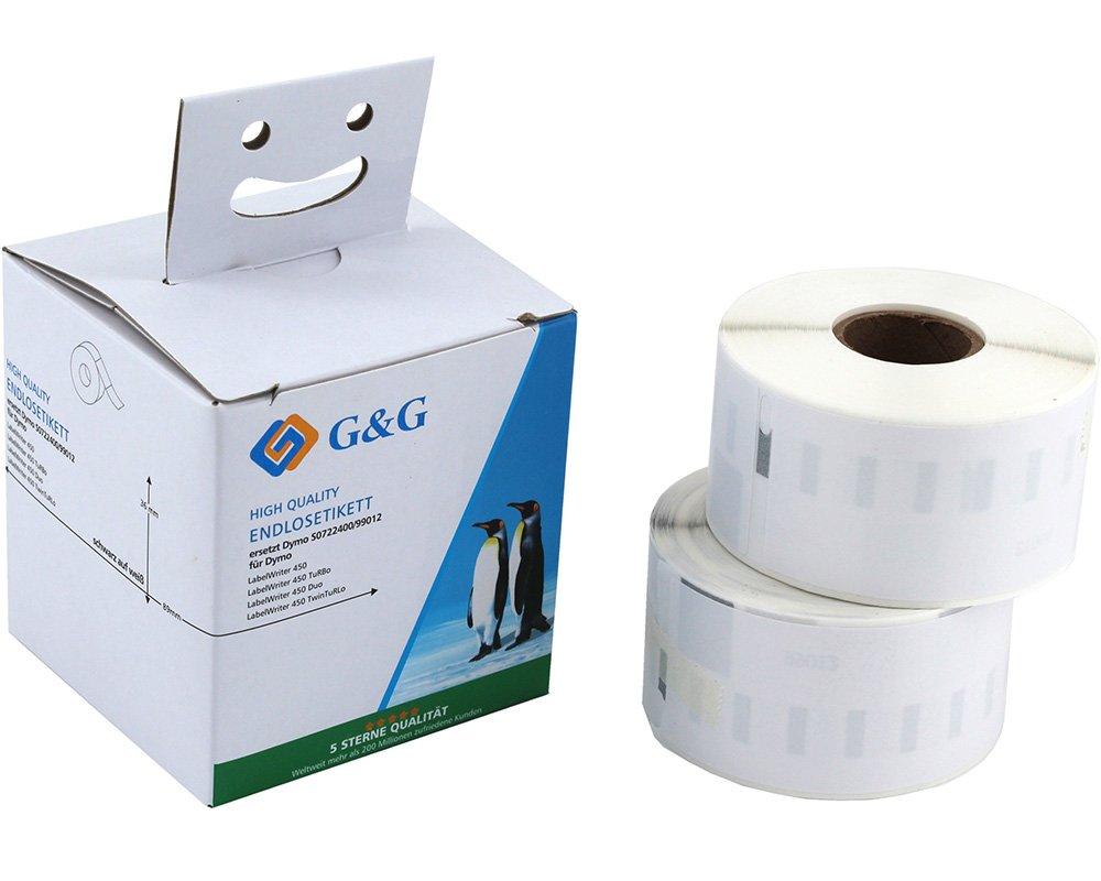 Doppelpack G&G Schriftband kompatibel zu Dymo D1/99012/S0722400 (2x260m auf 36mm x 89mm) schwarz auf