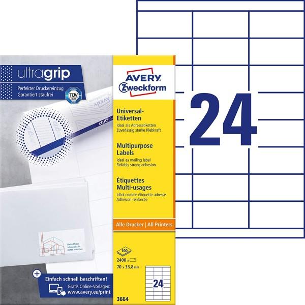 AVERY Zweckform 3664 Adressaufkleber (2.400 Klebeetiketten, 70x33,8mm auf A4, Papier matt, individue
