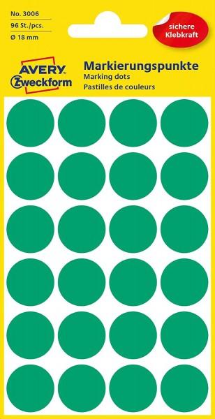 AVERY Zweckform 3006 selbstklebende Markierungspunkte 96 Stück (Ø18mm, Klebepunkte auf 4 Bogen, Punk