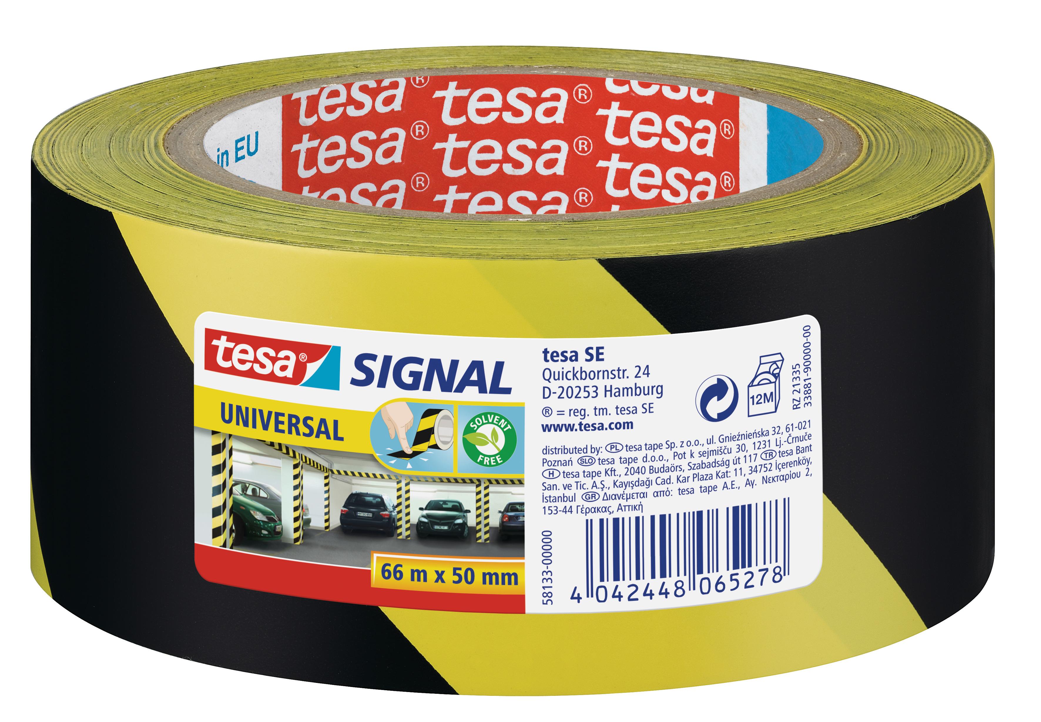 GP: 0,05 EUR/m tesa Signal Markierungsklebeband Universal gelb / schwarz