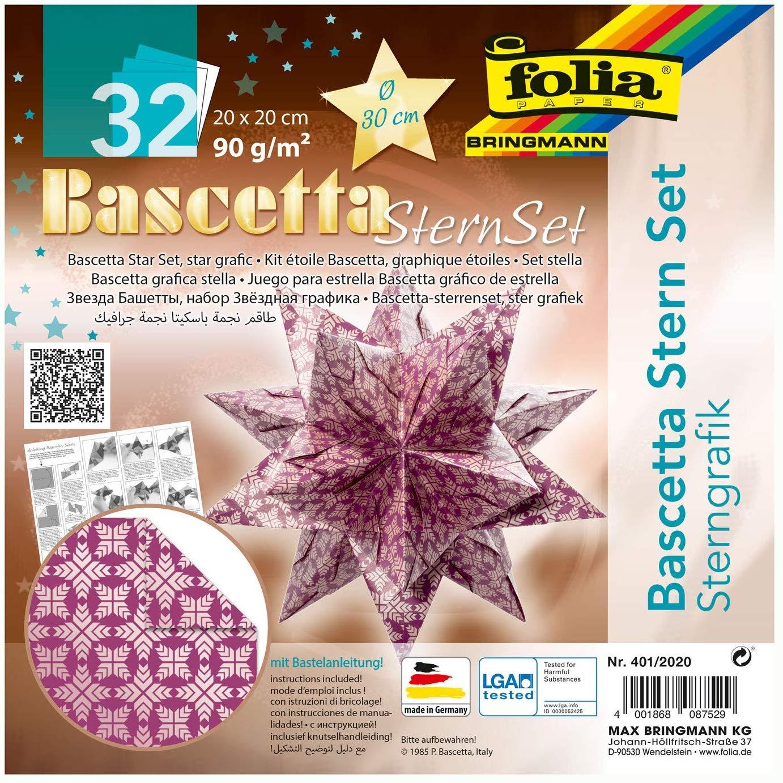 folia 401/2020 - Bastelset Bascetta Stern Sterngrafik lila/silber, 32 Blatt, 20 x 20 cm, fertige Grö
