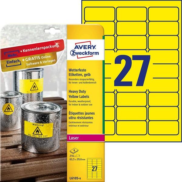 AVERY Zweckform L6105-8 Wetterfeste Folienetiketten (63,5x29,6 mm auf DIN A4, extrem stark selbstkle