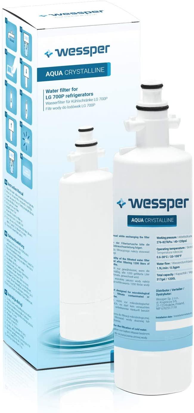 Wessper® Aqua Crystalline Kühlschrank Wasserfilter kompatibel Beko 9256712, 4394650100, SBS4K, Blomb