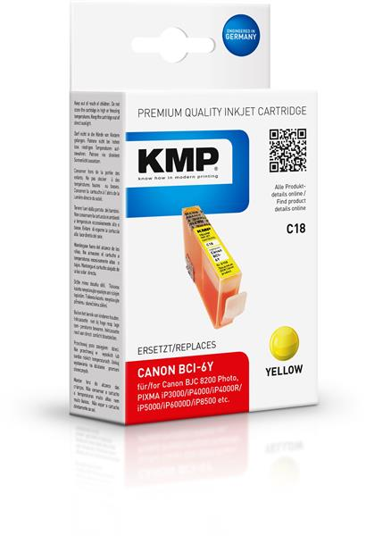 KMP Patrone C18 komp. zu BCI-6Y Canon Pixma 4000 5000 6000 yellow